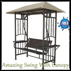 Garden Swing Seat Bench 2 Seater With Side Tables Hammock Canopy Patio Furniture