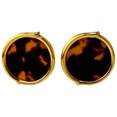 Preowned Vintage Yves Saint Laurent Tortoise-shell Clip-on Earrings ($323) ❤ liked on Polyvore featuring jewelry, earrings, multiple, hexagon earrings, tortoise shell earrings, yves saint laurent earrings, engraved earrings and clip back earrings