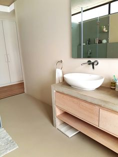 Teracoat seamless flooring  Bathroom ideas Bathroom Flooring, Double Vanity, Bathroom Lighting, Bathroom Ideas, Mirror, Building, Furniture, Home Decor, Bathroom Light Fittings