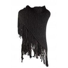 Dikke, warme poncho of omslagdoek. Dit najaar kun je niet om deze grote gebreide sjaals heen die je heerlijk om je heen kan slaan of lekker dik om je nek kan knopen. Draag hem als poncho door hem vast te zetten met een leuke speld of broche, zo over je blazer of spijkerjasje. Verkrijgbaar in de kleuren | black |  dark blue | off white | beige.