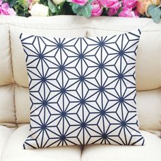 Hot Sale Geometric Cushion Covers Linen Fabric Decorative Thow Pillowcases for Sofa Chair Couch White & Deep Blue Quatrefoil #Affiliate