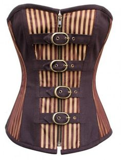 Striped Brocade Corset With Buckles - STEAMPUNK. This is very similar to my ideal corset!- for the moment anyways Steampunk Costume, Steampunk Clothing, Steampunk Fashion, Gothic Clothing, Boned Corsets, Overbust Corset, Medieval, Steampunk Wedding, Costumes