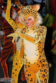 Part of the Parade of Dreams, in Disneyland, Anaheim, California. Animal Costumes, Cat Costumes, Mascot Costumes, Leopard Costume, Cat Makeup, Fursuit, Disneyland, Princess Zelda, Cosplay