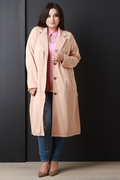 Lightweight Button-Up Longline Trench Coat