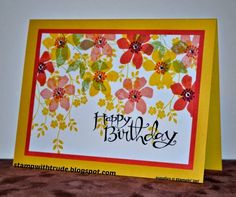 Trude Thoman: Stampin' Up! Summer Silhouettes, Thoughts and Prayers (vines), and Sassy Salutations (sentiment); Homemade Birthday Cards, Homemade Cards, Card Making Inspiration, Making Ideas, Birthday Thank You, Happy Birthday, Stampin Up Christmas, Copics, Flower Cards