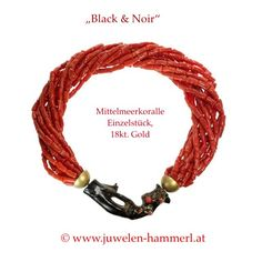 "exclusives Korallencollier ""Black & Noir"" Mittelmeerkoralle, 18kt. Gold"