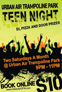 Urban Air Trampoline Park hosts TEEN Night twice per month. Tickets are only $10 online and include a DJ, Free pizza, a Dodgeball tournament and door prizes. Don't Miss out!