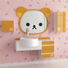 rilakkuma loosely Cubs bathroom mirror / dressing mirror / easily bear cartoon mirror decorative mirror/Home & Living - 65daigou