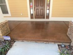 Stained Concrete Patio Ideas for Your House. The floor is the last part to be completed when building a house. Even so, the selection of concrete patio floor can not be underestimated. Concrete Patios, Stained Concrete Porch, Concrete Floors, Concrete Staining, Painting Concrete, Concrete Backyard, Outdoor Concrete Stain, Concrete Stain Colors, Concrete Front Porch