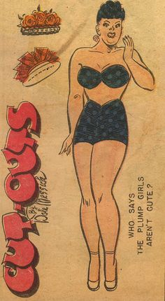 Abertha plus-sized character from Brenda Starr paper doll, published by Chicago Tribune, United States, 1948, by Dale Messick.
