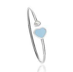Chopard Happy Heartsbracelet in white gold with turquoise and a single mobile diamond.