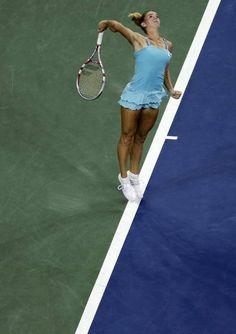 Camila Giorgi, of Italy, serves to Caroline Wozniacki, of Denmark, during the third round of the 2013 U.S. Open tennis tournament, Saturday, Aug. 31, 2013, in New York