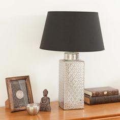 Lampe carrée en céramique argent et tissu noir RAJASTAN  | Maisons du Monde