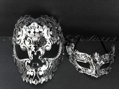 Men Women Couple Silver Metal Evil Skull And Venetian Laser Cut Masquerade Mask
