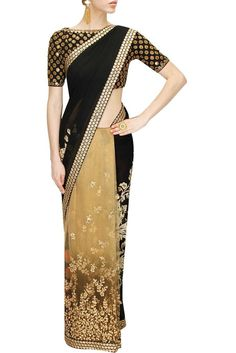 This Black and beige Sabyasachi saree is in tulle net and georgette fabric with aariwork. This Sabyasachi half n half saree comes along with black fully embroidered blouse piece. Lehenga, Sabyasachi Sarees, Indian Sarees, India Fashion, Ethnic Fashion, Asian Fashion, Indian Attire, Indian Wear, Indian Dresses