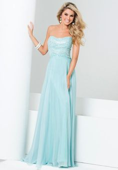 Noble Sweetheart Full Length Chiffon Light Mint Cheap Evening Dresses with Crystals