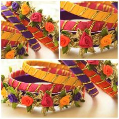 Fancy bangles embellished with gota and ribbon flowers