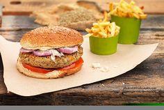 Μπέργκερ με μπιφτέκι λαχανικών | Συνταγή | Argiro.gr - Argiro Barbarigou The Kitchen Food Network, Tasty, Yummy Food, Vegan Burgers, Food Categories, Going Vegan, Street Food, Food Network Recipes, Finger Foods
