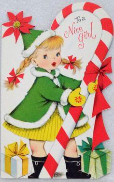 244-60s-Volland-Pretty-Girl-Candy-Cane-Vtg-Juvenile-Diecut-Christmas-Card