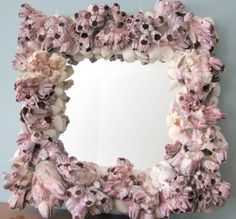 Seashell Mirror of ocean barnacles and white seashells Seashell Candles, Seashell Art, Seashell Crafts, Beach Crafts, Beach Bedding, Luxury Bedding, Shell Wreath, Natural Bedding, Bedroom Themes