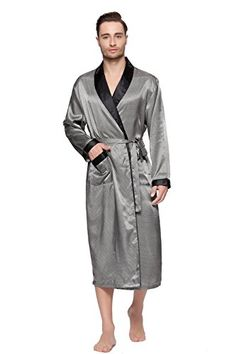 Mens Shawl Collar Classic Satin Robe Sleepwear Fabric:Premium Satin Shawl collar, waist tie with two loops Two front patch pockets offer convenience Comfortable cut Roomy and incredibly comfortable Price:	$27.99