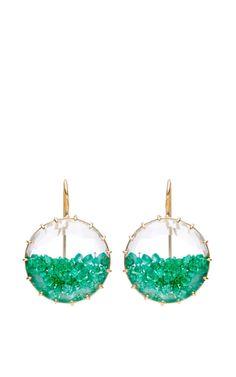 "One Of A Kind Emerald ""Shake"" Earrings by Renee Lewis for Preorder on Moda Operandi"