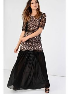 dd848479882c4 Glamorous black and nude floral dress Glamorous Dresses