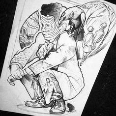 """""""Kafka on the Shore"""" #sketch #Tattoo #ink #berlin #blackwork #blackworkers #istanbul #drawing #dövme #blackworkerssubmission @blackworkers"""