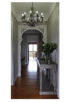 Queenslander - Entrance - traditional - brisbane - by Charcoal Interiors California Bungalow Interior, Bungalow Interiors, Cottage Hallway, Entry Hallway, Entryway, Entrance Foyer, Cottage House, Arched Interior Doors, Queenslander House