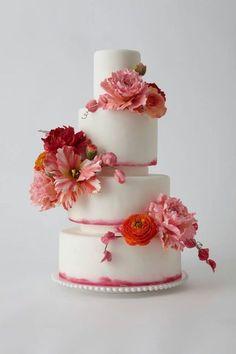 40 Dazzling Wedding Cakes From Lulu Cake Boutique - MODwedding Pretty Wedding Cakes, Wedding Cake Designs, Pretty Cakes, Cake Wedding, Bouquet Wedding, Gorgeous Cakes, Amazing Cakes, Bolo Fake Eva, Wedding Cake Inspiration
