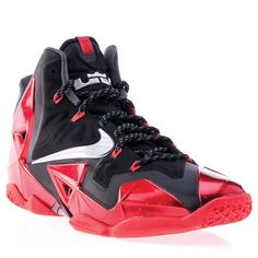 Nike Lebron XI Basketball Shoe, Black/Metallic Silver/University Red/Bright Crimson, 8 M US