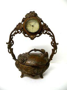 Rare Antique Casket Bronze Clock Art Nouveau