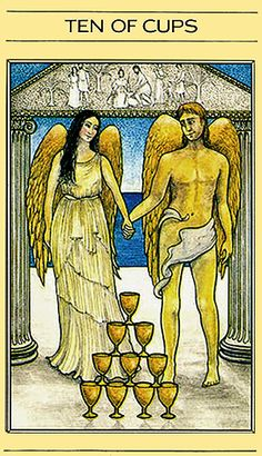 "Free Daily Tarotscope — Apr 7, 2015 — Ten of Cups -- Today you may be thinking about your ""happily ever after"" in the form of a marriage or soul-mate type relationship. The symbolism depicted in this card — from the Mythic Tarot's deck — certainly depicts this type of union. (more)...."