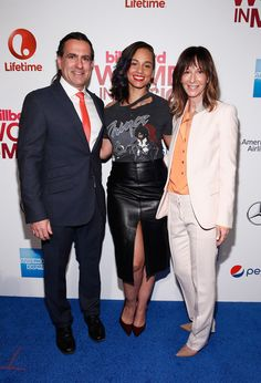 (L-R) Mike Bruno, Alicia Keys and Jody Gerson attend the Billboard Women in Music Luncheon on December 11, 2015 in New York City.