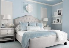 Sep 2019 - Beautiful traditional style light blue and grey luxury bedroom decor with grey curved headboard bed Baby Blue Bedrooms, Blue Teen Girl Bedroom, Blue Girls Rooms, Blue Master Bedroom, Blue Bedroom Walls, Room Ideas Bedroom, Girl Bedroom Designs, Diy Bedroom, Teen Bedroom Colors