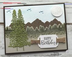 Masculine Birthday Card using the Mountain Air Bundle DIY handmade masculine birthday card featuring the Mountain Air Bundle from Stampin' Up!  The sentiment is from the Peaceful Moments Stamp Set and was stamped and cut out with the Label Me Fancy Punch