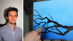 How to Paint Silhouettes Of Branches In Acrylic On Canvas For Beginners.