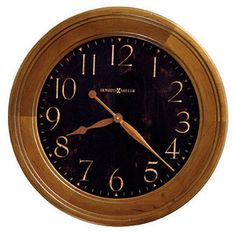 Howard Miller Brendon Gallery Wall Clock - This gallery clock features an aged black, worn dial with antique gold Arabic numerals and burnished antique gold hands and glass crystal. Finished in distressed Vintage Umber on select hardwoods and veneers. Howard Miller Wall Clock, Mantel Clocks, Wall Clocks, Time Clock, Grandfather Clock, Desk Set, Wood Colors, Wood Design, Accent Decor