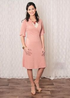 Peach and gold wrap dress