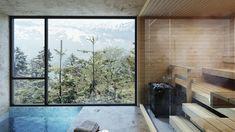 Glasparti i bastun suddar ut gränsen mellan bastu bad och inne och ute! Bad, Windows, Room, Furniture, Home Decor, Bedroom, Decoration Home, Room Decor, Rooms