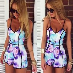 """Floral Isle Spaghetti Strap Romper """"FREE SHIPPING"""" Item Type: Jumpsuits & Rompers Gender: Women Fit Type: Regular Pattern Type: Print Style: Floral Isle Type: Jumpsuits Fabric Type: Broadcloth Materia"""