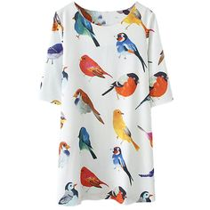 Women's White Round Neck Birds Dress/Top :collections.ml/...