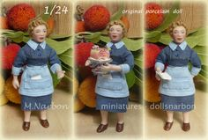 """1/24 Hand made porcelain doll: """"Waitress"""" by maria narbon"""