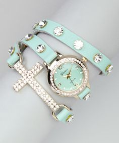 Take a look at this Mint & Gold Rhinestone Cross Wrap Watch by Geneva Platinum on #zulily today!