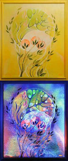 Luminescent painting MY BIRTH ● 2009, canvas   acrylic, daylight and UV light • Painting Ideas   Home Decor   Art   Art Ideas   Contemporary Art   Abstract Art   Fine Art • Available on Etsy •