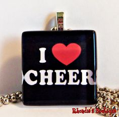 I Heart Cheer Glass Tile Pendant by rhondiesboutique on Etsy, $6.00