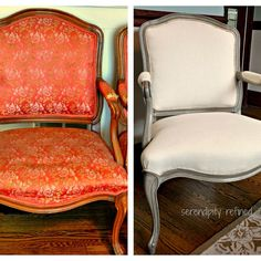 Chalk Paint and Dark Wax with Natural Linen Upholstery Make Over Louis XVI Side Chairs