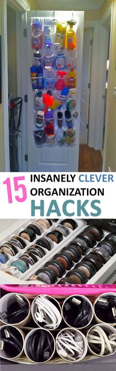 Organization hacks, clever organization, easy organization, DIY organization, popular pin, organized home, clutter free living, how to stay clutter free, organization.