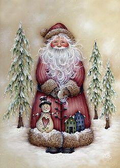 Photo from album Старые новогодние открытки on Yandex. Noel Christmas, Father Christmas, Vintage Christmas Cards, Christmas Pictures, Vintage Cards, Winter Christmas, Christmas Ornaments, Santas Vintage, Pintura Country
