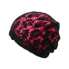 Empyre Girls Noble Crochet Black Pink Beanie ($20) ❤ liked on Polyvore